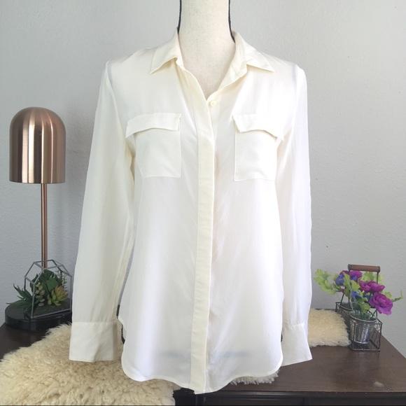1b8e14b917fa6 Madewell Tops - Madewell silk cargo pocket button down cream shirt